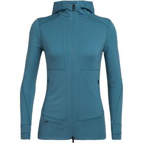 Icebreaker Quantum II T-shirt manches longues à capuche avec demi-zip Femme, blue spruce